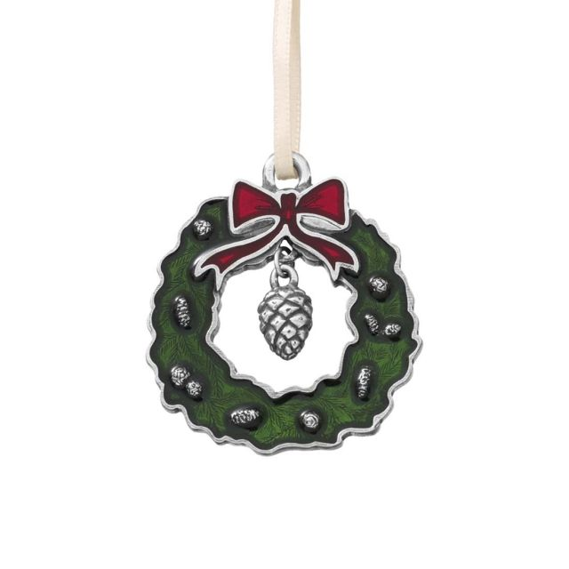 Green wreath with pine cone pewter ornament