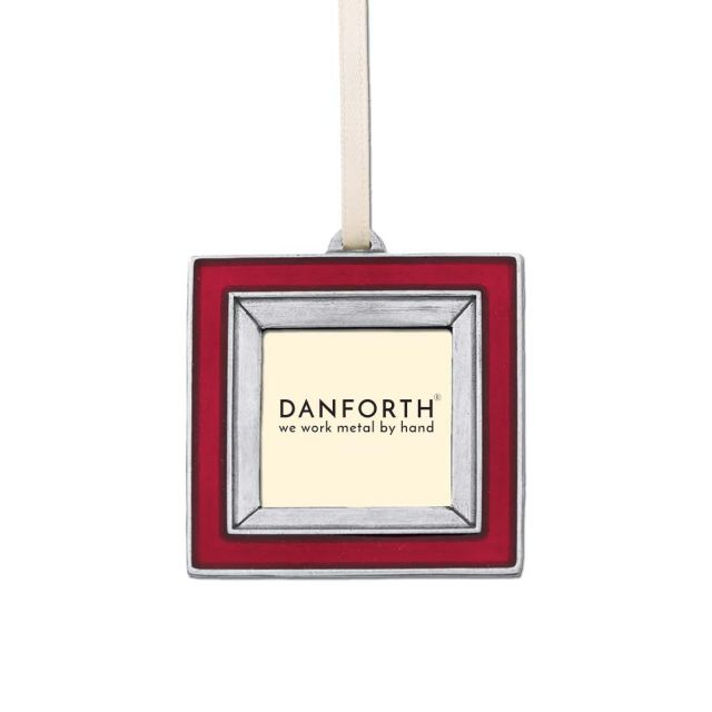 Red photo Frame pewter ornament