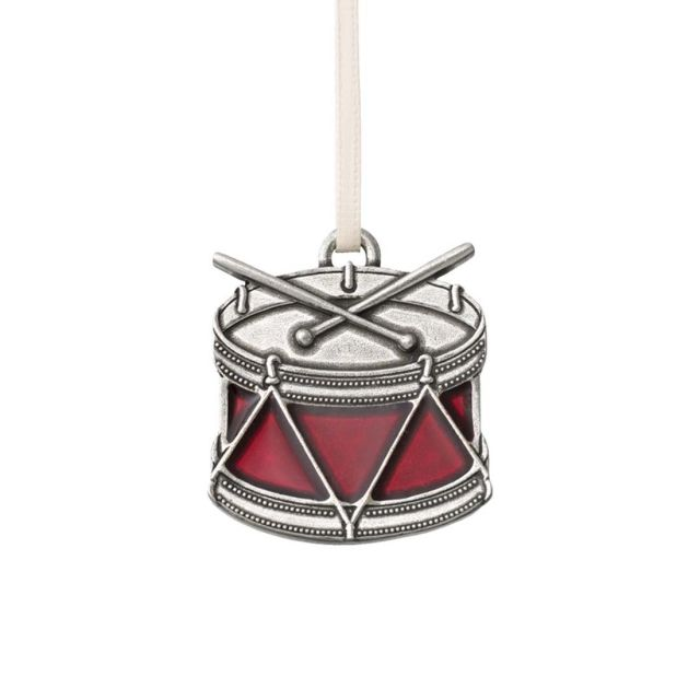drum red pewter annual ornament