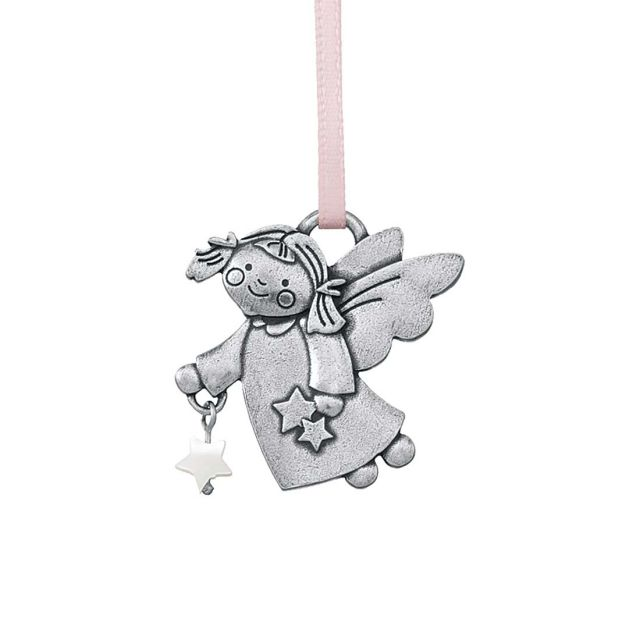 Angel with star pink ornament