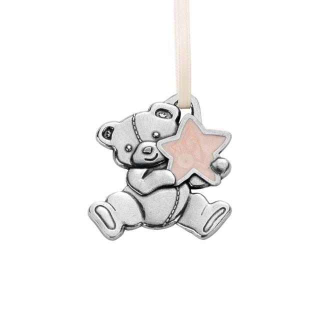 Teddy Bear with Star / Pink Ornament