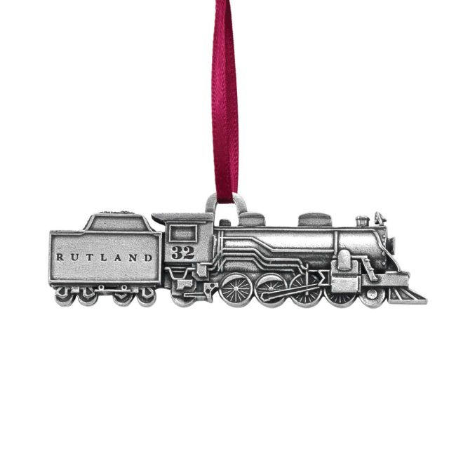 Rutland pewter train ornament with red satin ribbon