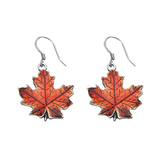 maple leaf autumn pewter wire earrings