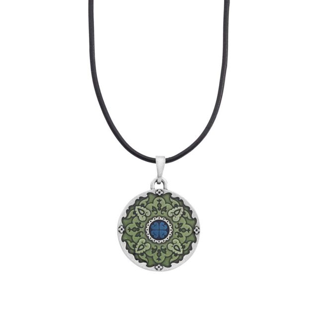 """Medallion / Green Corded 16""""-18"""" Necklace"""