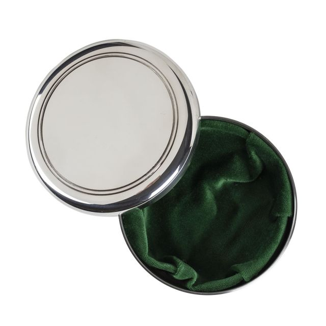 Large polished pewter dresser box with green lining
