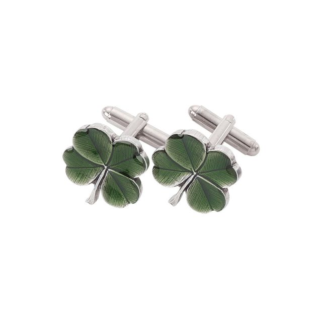 Clover Green Pewter Cuff Links