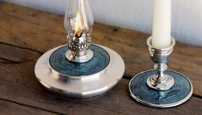 Coastal Waters Oil Lamp and Candlestick
